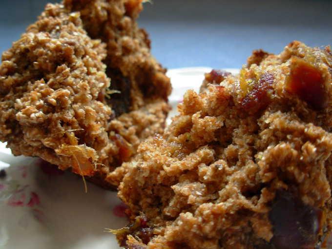 super close up photo of a bran muffin split in half