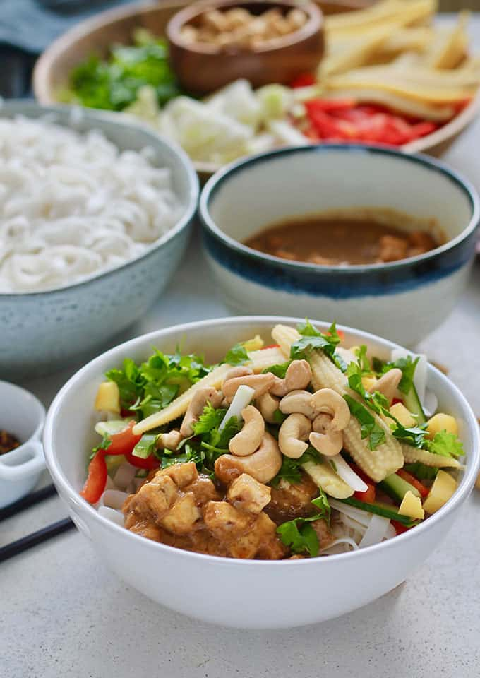 A white bowl of cold rice noodle salad topped with cashews and vegetables, peanut sauce with tofu, and extra ingredients in the background