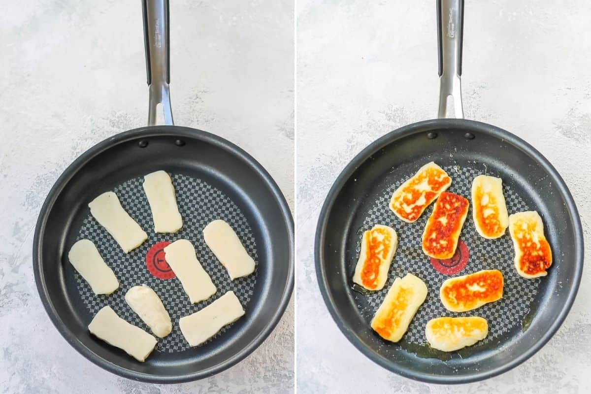 photo collage of halloumi in a frying pan