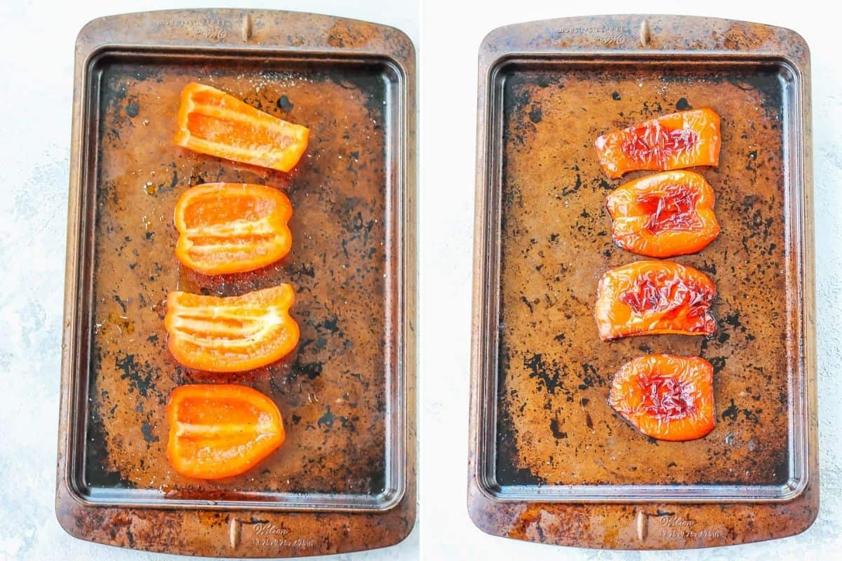 photo collage of roasted red peppers on a sheet pan