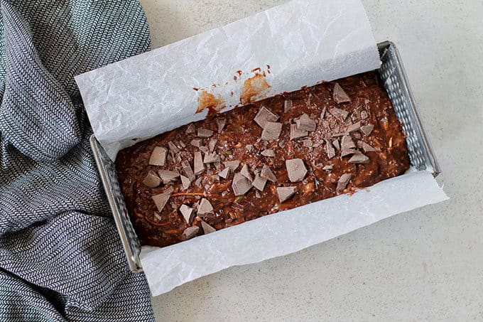 un-baked double chocolate zucchini loaf