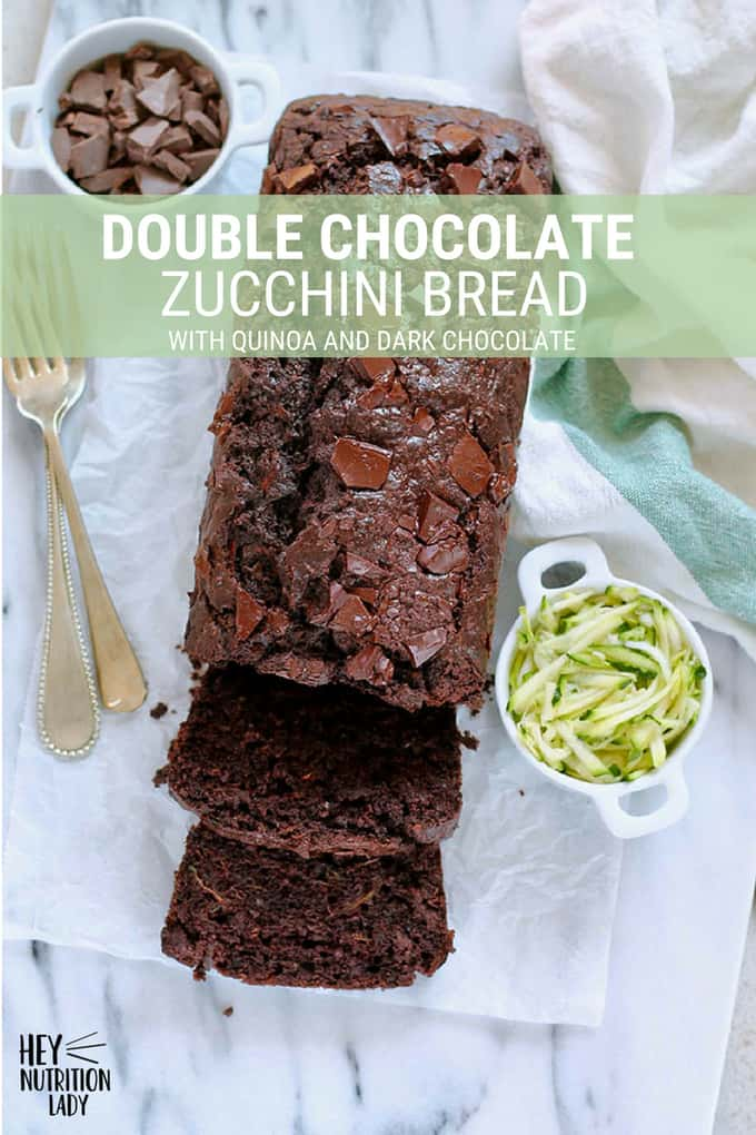 This Double Chocolate Zucchini Bread recipe features an unusual ingredient that makes it incredibly moist - quinoa! It's easy to make, packed with dark chocolate, and is a healthy spin on chocolate chip zucchini bread. #recipe #chocolate #zucchini #zucchinibread #doublechocolate #baked #baking #easy #healthy #loaf #bread #dessert