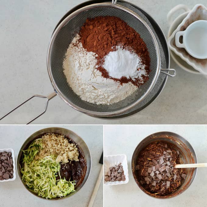 collage of the process of making double chocolate zucchini bread in one bowl