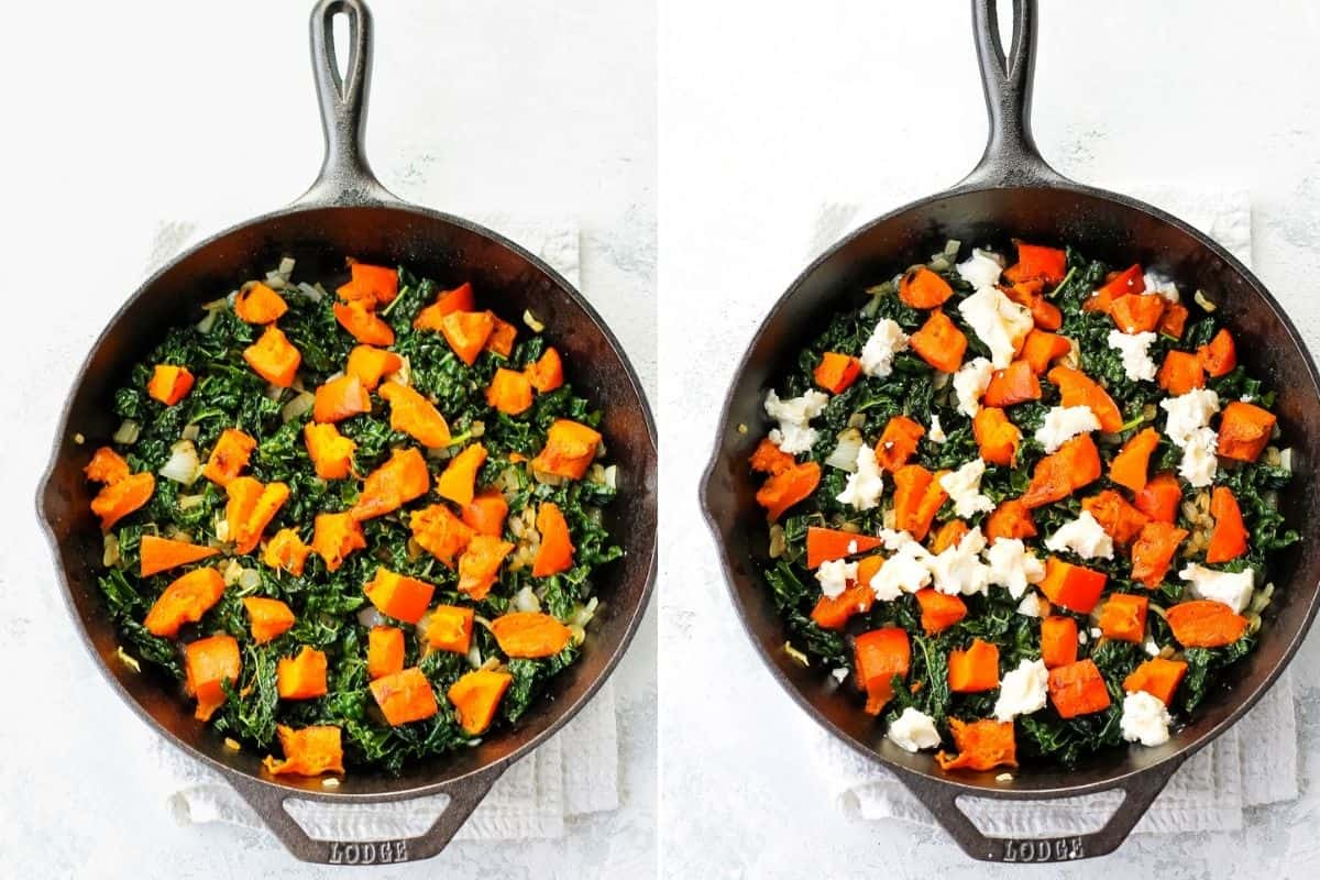 photo collage with roasted pumpkin and goat cheese on top of kale in a cast iron skillet