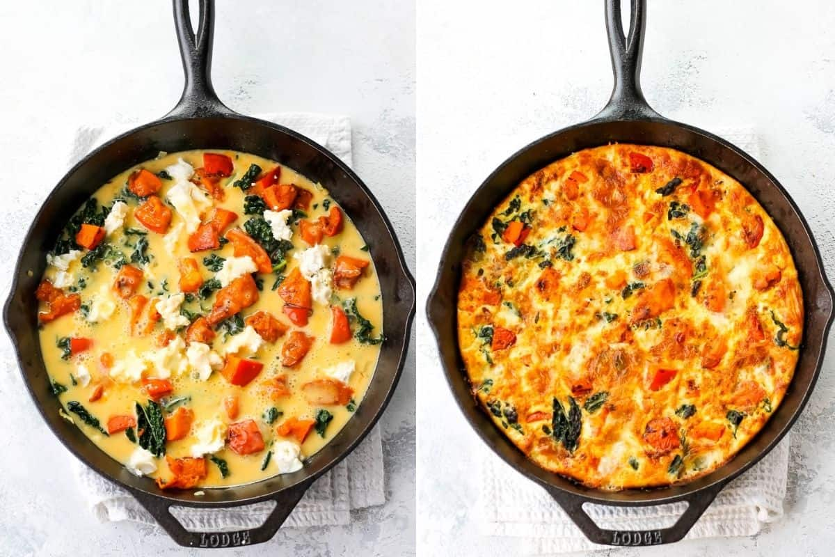 photo collage with a baked and unbaked pumpkin frittata