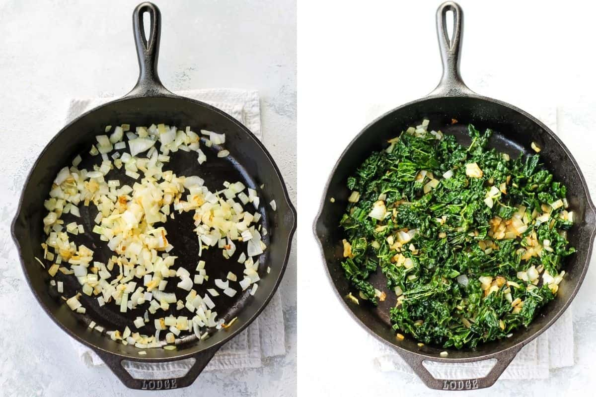 photo collage with onions and kale cooking in a cast iron skillet