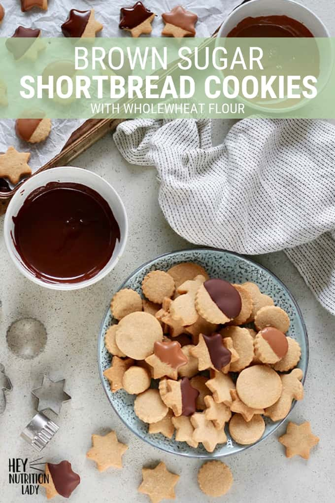 This Brown Sugar Shortbread cookie recipe is an easy three-ingredient holiday treat. Made with wholegrain flour and dipped in chocolate, these cookies are simple and elegant. #shortbreadcookies #brownsugar