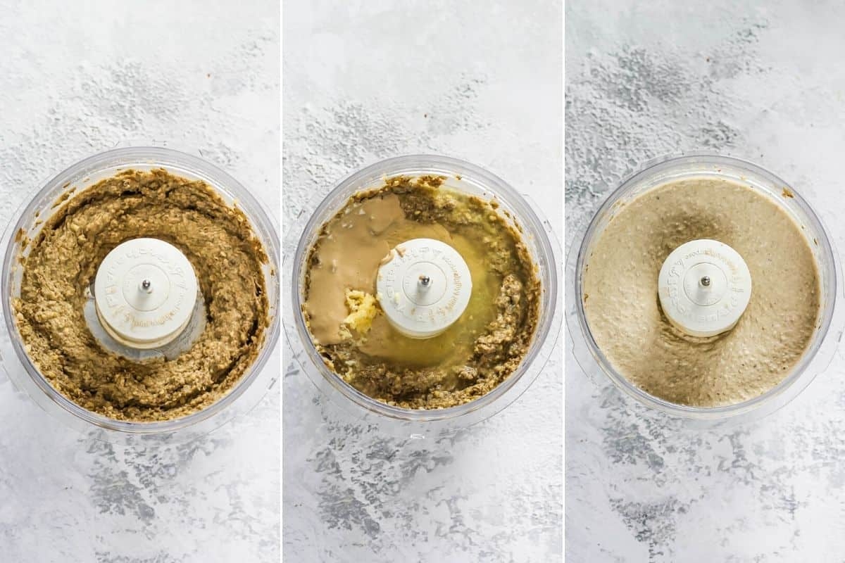 photo collage of mung bean hummus being made in a food processor