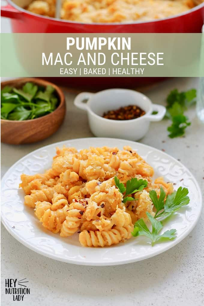 This Pumpkin Mac and Cheese is an easy, healthy baked pasta dish that's perfect for a weeknight dinner! Lighter than your average mac and cheese thanks to the addition of pumpkin, it's a vegetarian meal the whole family will love. #vegetarian #pumpkin #macandcheese #baked #healthy #easy #pasta #dinner #heynutritionlady