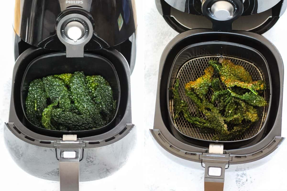 photo collage making kale chips in an air fryer
