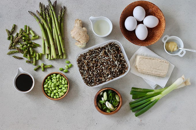 asparagus, eggs, wild rice, tofu, edamame, ginger, scallions, and soy sauce on a grey background