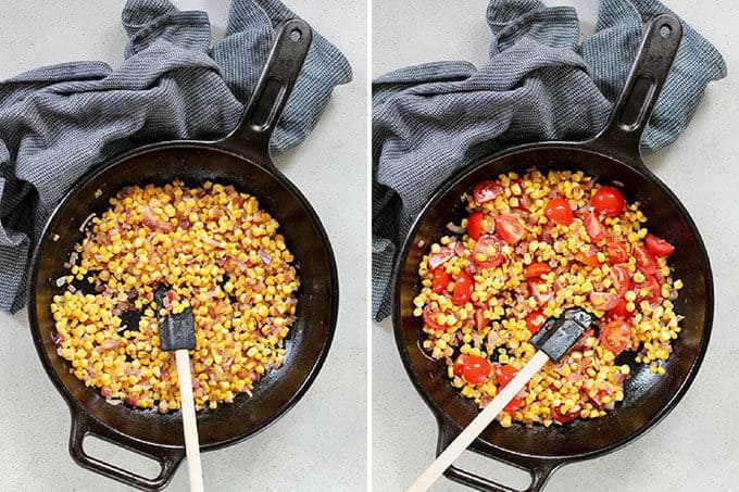 process shot of corn frittata being made