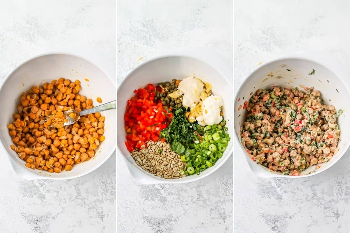 photo collage of chickpea salad being mixed in a white bowl