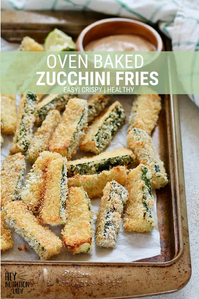 These Oven Baked Zucchini Fries are a healthy alternative to deep fried, and they're super easy to make! Nice and crispy on the outside thanks to panko breadcrumbs, these are a tasty, crunchy treat. #zucchinifries #zucchini #fries #baked #easy #healthy #crunchy #panko #recipe