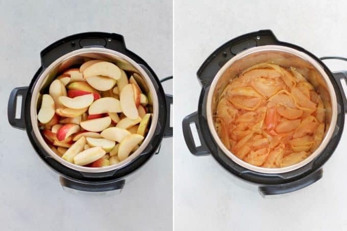 photo collage of apples being cooked in an instant pot