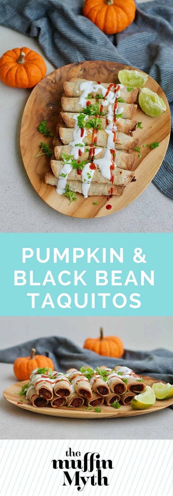 Pumpkin and Black Bean Taquitos // www.heynutritionlady.com #pumpkin #blackbean #vegetarian