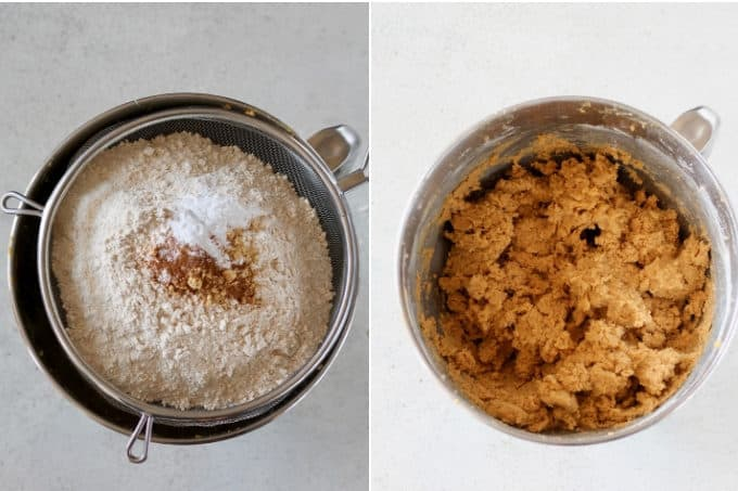 process shot of pumpkin snickerdoodles being mixed in a metal bowl