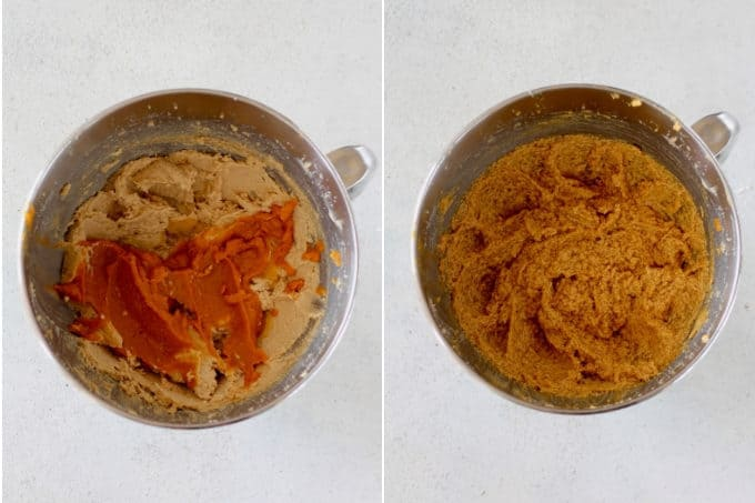 process photo of making pumpkin snickerdoodles