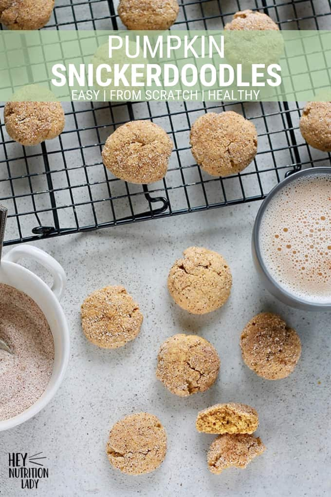 Pumpkin Snickerdoodles! These soft and chewy cookies are healthy and easy to make! Made with real pumpkin, spices, and white whole wheat flour, they're sure to be a hit with the whole family. #pumpkin #snickerdoodles