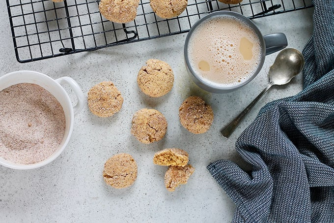 pumpkin snickerdoodles on a grey background with a bowl of cinnamon sugar and a grey tea towel to the side