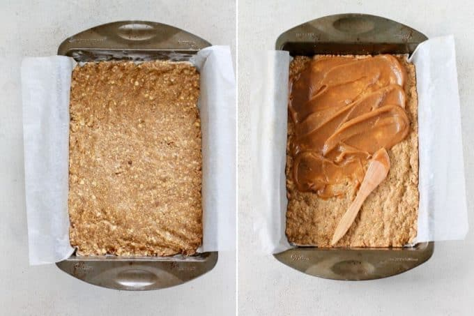 photo collage of apple crumble bars being pressed into a pan and topped with apple butter