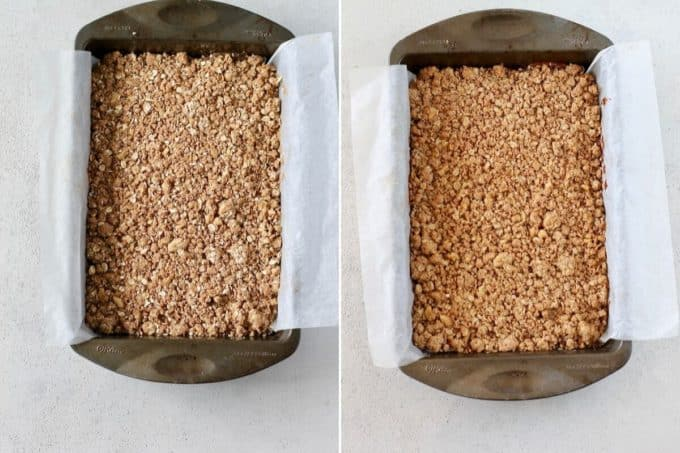 photo collage of baked and unbaked apple crumble bars