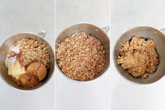 photo collage of apple crumble bars being mixed up in a metal bowl