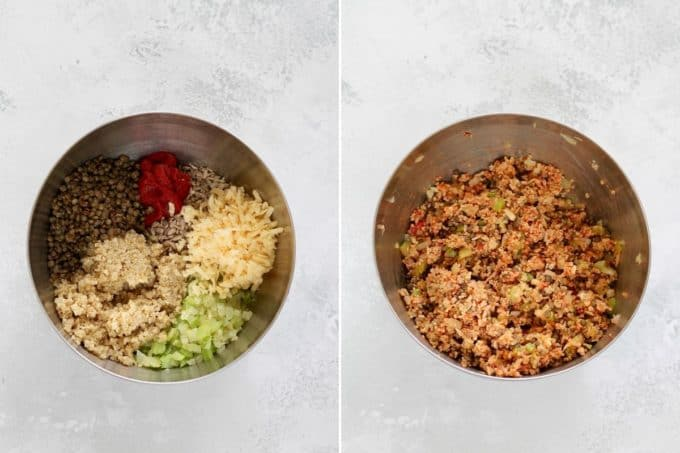 quinoa, lentils, cheese, onions, celery, sunflower seeds, and tomato paste being mixed together in a metal bowl