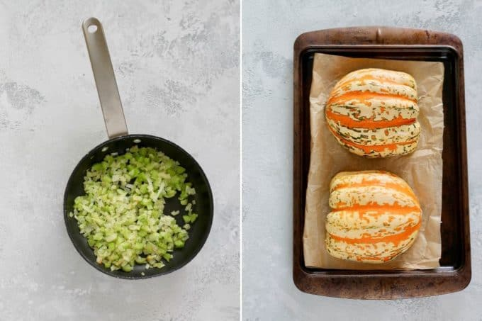 photo collage with onions and celery in a frying pan and an acorn squash on a sheet pan