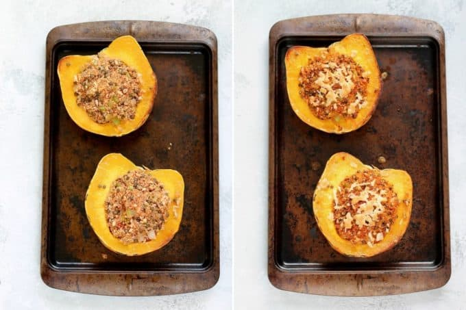 photo collage with stuffed squash on a sheet pan