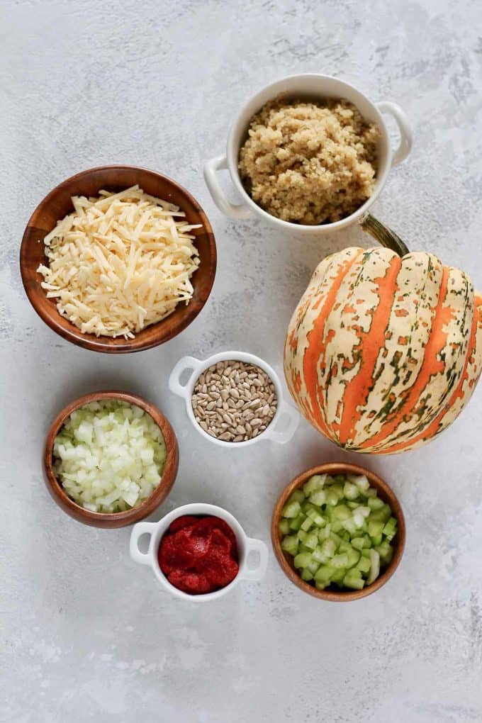 acorn squash, quinoa, cheese, onion, celery, sunflower seeds, and tomato paste on a grey background