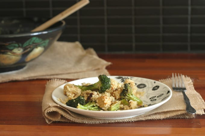 lemony roasted broccoli and tempeh with quinoa // www.heynutritionlady.com