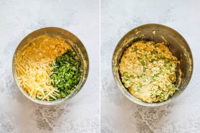 overhead photo of broccoli muffins being made in a metal bowl