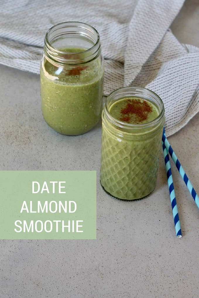 This creamy dreamy Date Almond Smoothie is thick and luscious like a milkshake, yet totally plant-based and packed with veggies. Naturally sweetened with frozen banana and dates, nutty and delicious, this is just the thing when you want something sweet but healthy.#smoothie #greensmoothie #vegan #breakfast #plantbased #naturallysweetened #healthy