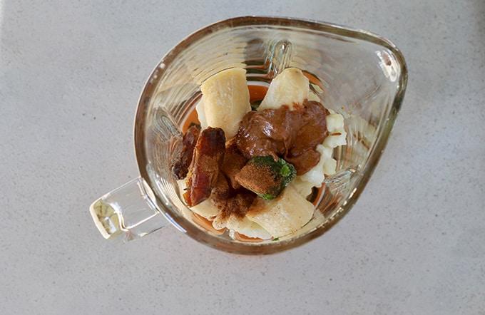 banana, cauliflower, dates, almond butter in a blender