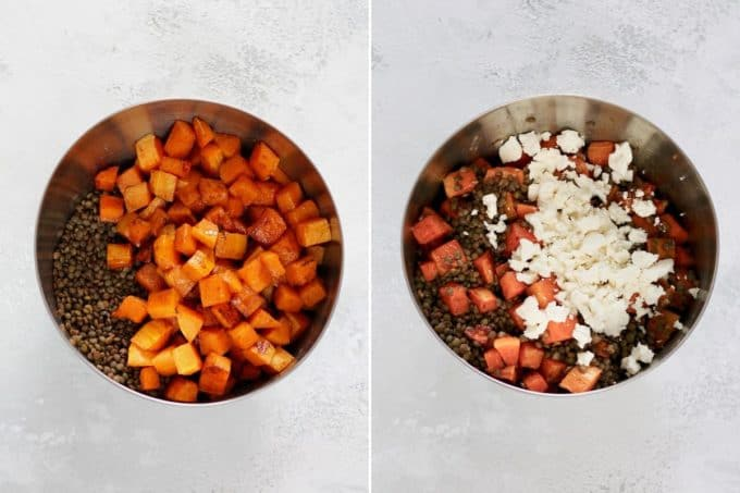 photo collage of butternut squash and lentils in a metal bowl