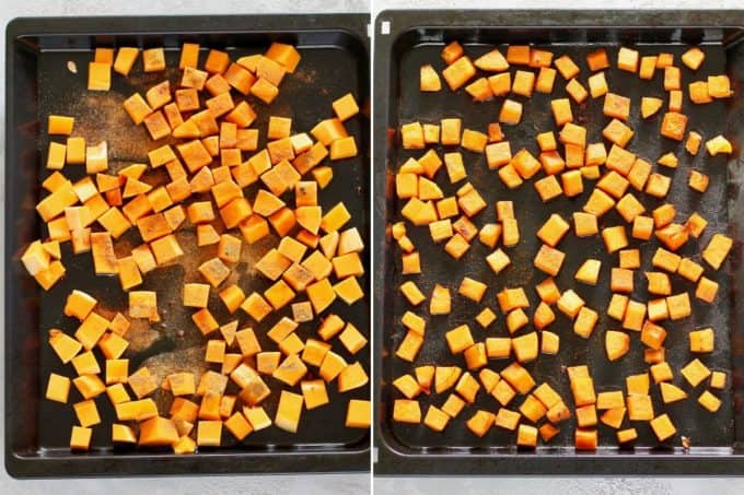 photo collage of spicy butternut squash being roasted on a sheet pan