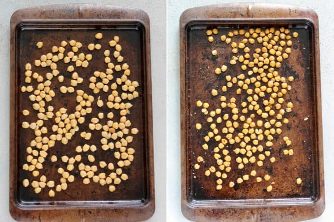 photo collage of unbaked and baked garbanzo beans on a sheet pan