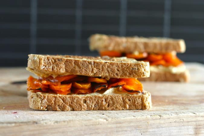 22 Vegetarian Lunch box Ideas - honey roasted carrot and hummus sandwiches