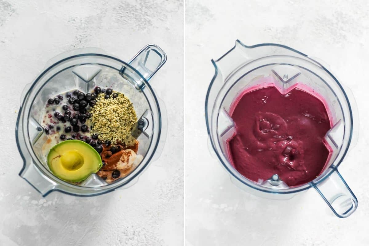 photo collage with ingredients for a blueberry smoothie in a blender