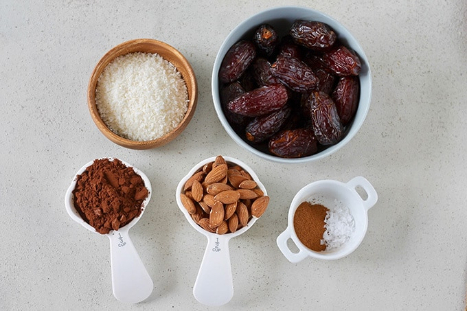 dates, coconut, cocoa, almonds, spices