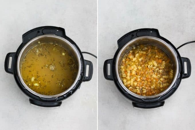 photo collage of chickpea noodle soup being made in the instant pot