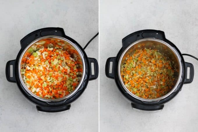 photo collage of vegan noodle soup being made in the instant pot