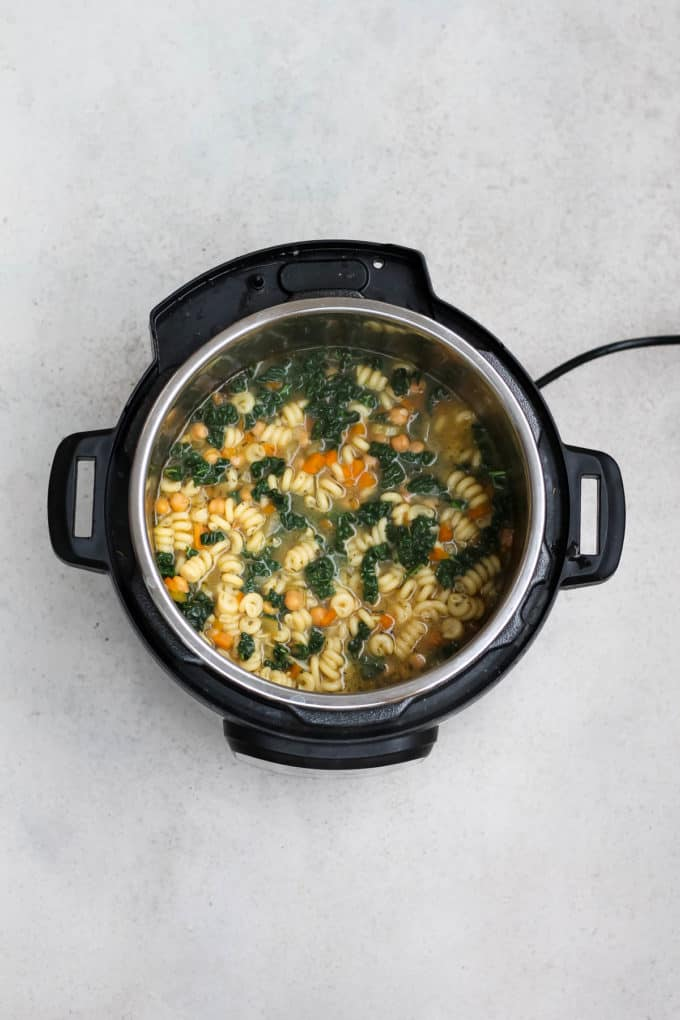 overhead photo of vegan noodle soup in the instant pot