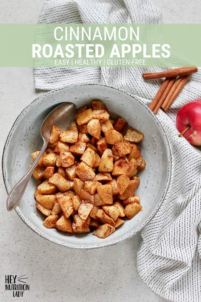 Cinnamon Roasted Apples! This is an easy and healthy recipe for apples baked in the oven with cinnamon and a touch of brown sugar. Eat them for dessert, add them to your breakfast, or just straight from the pan! #apples #roastedapples #cinnamon #dessert #baked #easy #recipe #breakfast #glutenfree #healthy