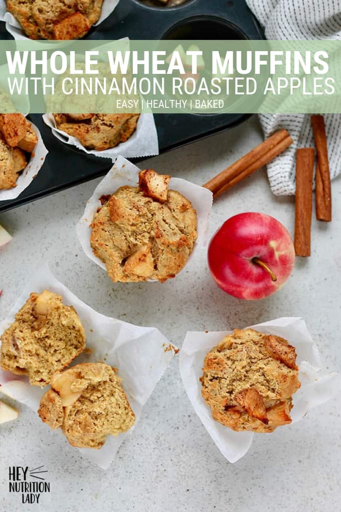 Healthy Whole Wheat Muffins with Cinnamon Roasted Apples! These muffins are super easy to make and are perfect for breakfast or a snack. A simple recipe with ingredients you probably already have at home, these muffins are delicious! #muffins #wholewheatmuffins #apples #roastedapples #wholewheat #easy #recipe #healthy #baked #cinnamon #ricotta