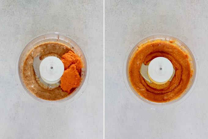 photo collage of dates and pumpkin puree in a food processor