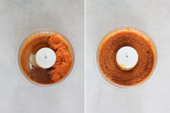 photo collage of naturally sweetened pumpkin pie filling in a food processor