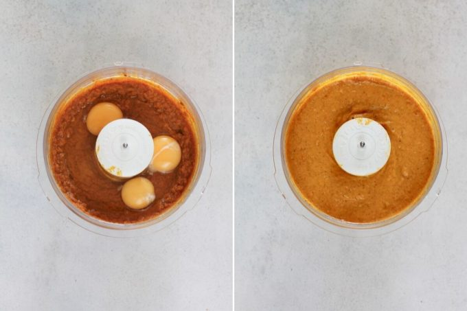 photo collage of eggs being added to pumpkin pie filling in a food processor