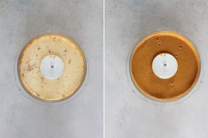 photo collage of milk being added to pumpkin pie filling
